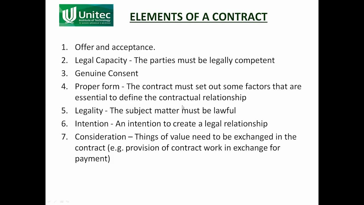 what are the elements of a contract