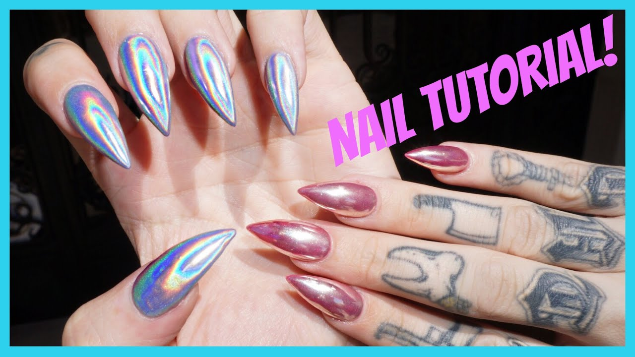 Chrome holographic nails step by step tutorial jeffree star chrome holographic nails step by step tutorial jeffree star youtube geenschuldenfo Images