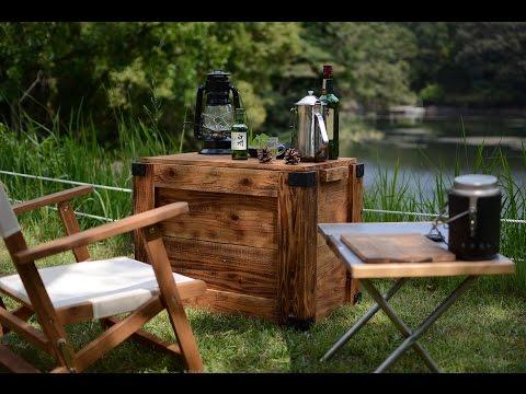 ソロキャンプ湖畔 (ワンポールテント, 自作木箱でウイスキー)