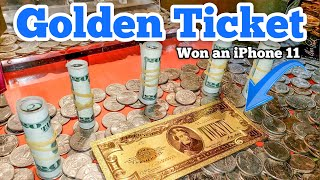 iPHONE 11 GOLDEN TICKET Inside The High Limit Coin Pusher Jackpot ASMR