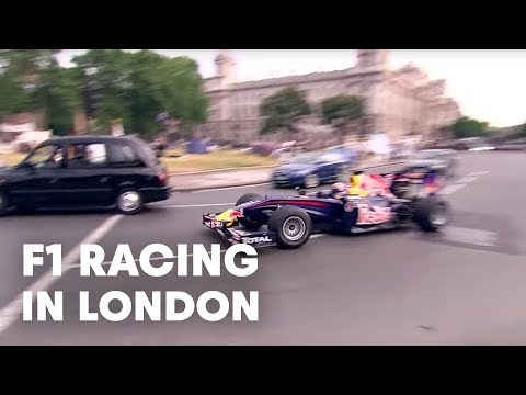 Mark Webber Parliament Square F1 Pit Stop w/ Red Bull Racing