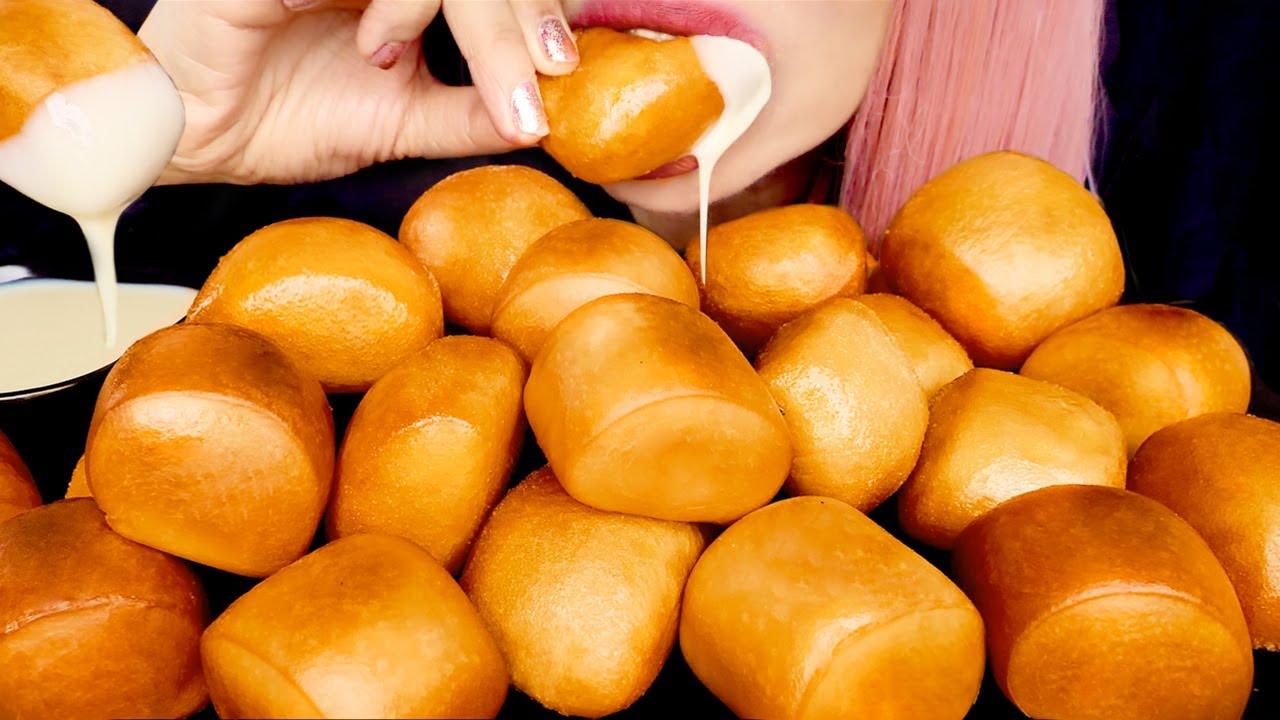 ASMR FLUFFY GOLDEN MANTOU | Crunchy Eating Sounds | Mukbang 먹방