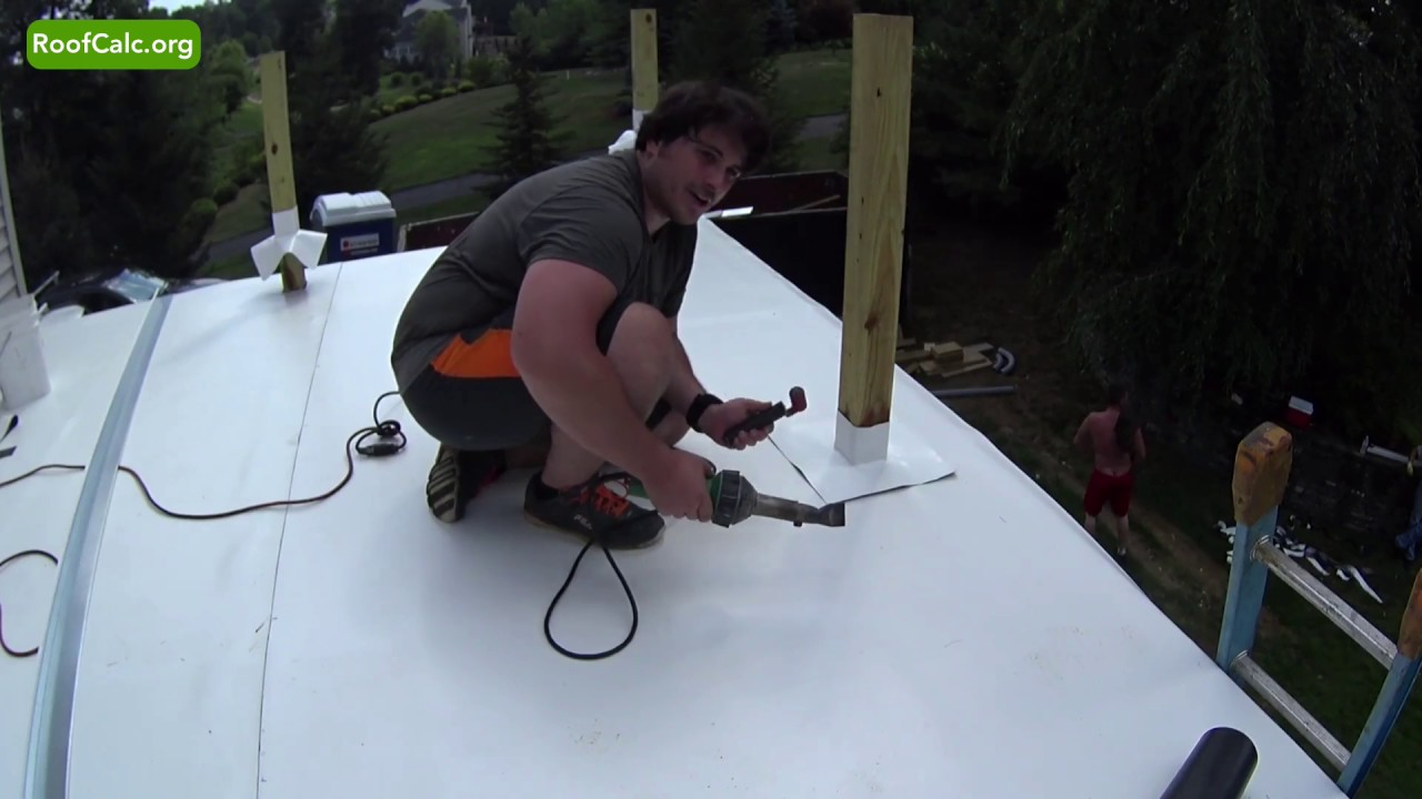 Flat Roof Deck Post Flashing Hot Air Welding Youtube