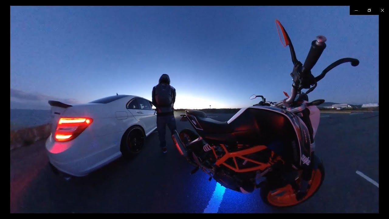 AMG C63 Vs KTM Duke390 - Street Drifting Chaos