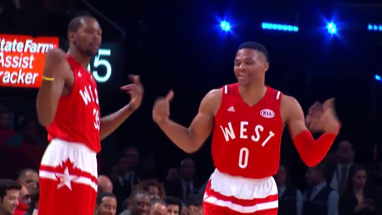 4c073c1c65f2 Kevin Durant - Russell Westbrook celebration at NBA All-Star game 2016 -  YouTube