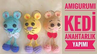 AMIGURUMI KEDİ Anahtarlık Yapımı( Amigrumi Kitty Keychain Tutorial) ENG SUBS ON)