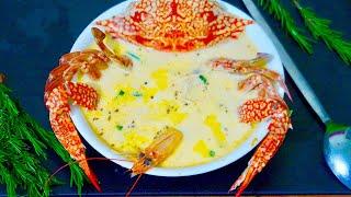 شوربة السى فود بالكريمة || على طريقة المطاعم  seafood soup || restaurant style