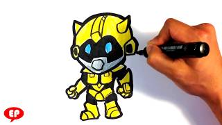 How to Draw Transformers (cute) - Bumblebee - Easy Pictures to Draw