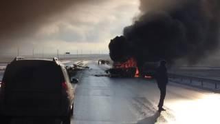 Крупное ДТП с пожаром на трассе Астана-Боровое