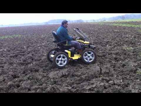 Terrain Hopper: Mobility Scooter Tackles Furrowed Field, All Terrain, Off Road Wheel Chair