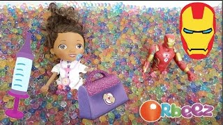 Doc McStuffins And Iron Man Play In Orbeez Bath