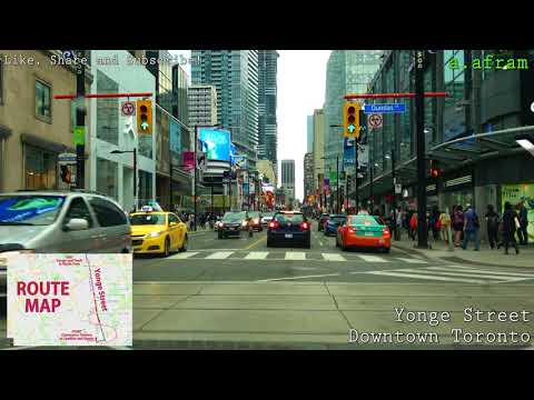 [4K] 2018 Driving Downtown Toronto on Yonge Street from Queen St. to Finch Ave in Canada