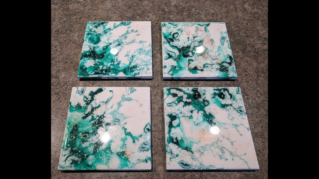 Acrylic Fluid Art Ceramic Tile Coasters Acrylic Pour Ink topped with Resin