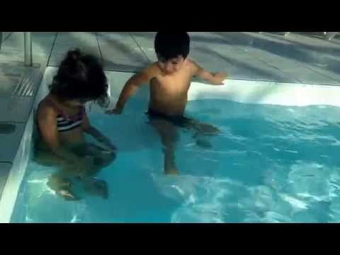 Swimming in cold swimming pool at Hallmark Bournemouth hotel Jan 17, 2015 Isaac and Gabii Barr
