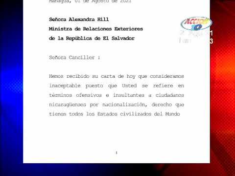 Download Administración Ortega responde a Ministra de Exteriores salvadoreña por 'Intromisión'