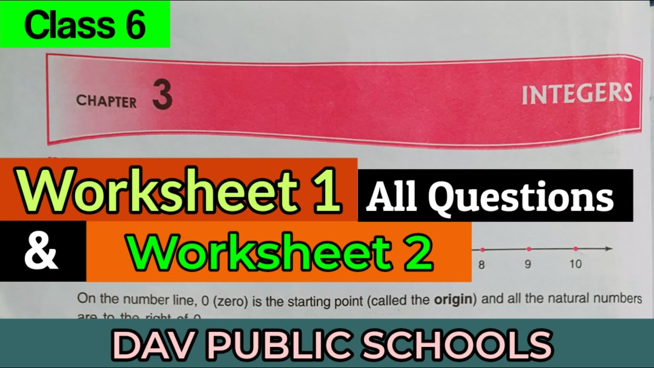 small resolution of DAV Class 6 maths chapter 3 Integers worksheet 1 and 2 - YouTube