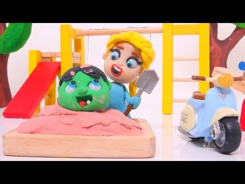 BABY HULK & ELSA IN THE PLAYGROUND ❤ SUPERHERO BABIES Play Doh Cartoons For Kids ❤ Stop Motion