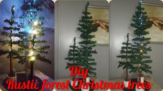 Dollar tree DIY rustic/ wilderness forest Christmas tree set