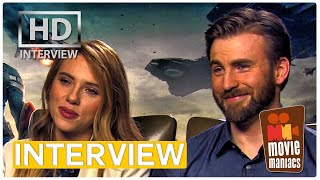 Captain America 2 Stars play the SUPERHERO GAME - Scarlett Johansson, Chris Evans