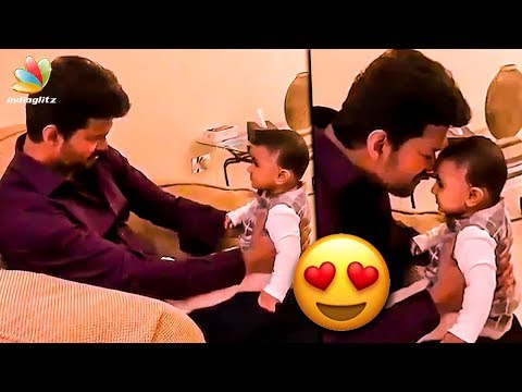 Charming Thalapathy Vijay with Adoring kid | Cute Video | Sarkar Latest News