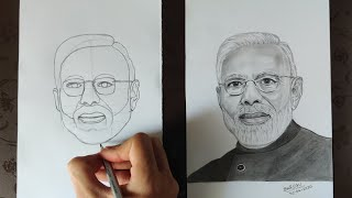 How to draw Narendra Modi step by step for beginners|free hand drawing|Real time video|#narendramodi