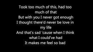 lyrics on screen.