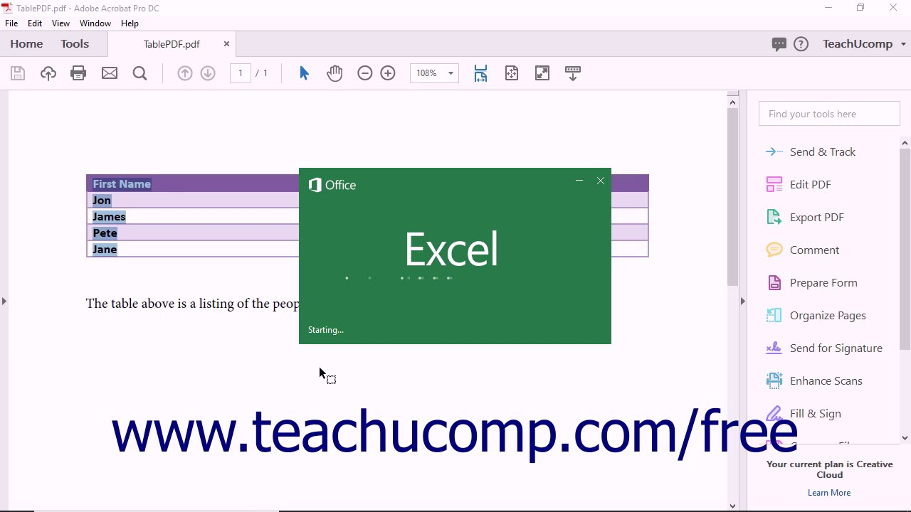 Acrobat Pro DC - Exporting PDFs to Microsoft Excel - Adobe Acrobat Pro DC  Training Tutorial Course