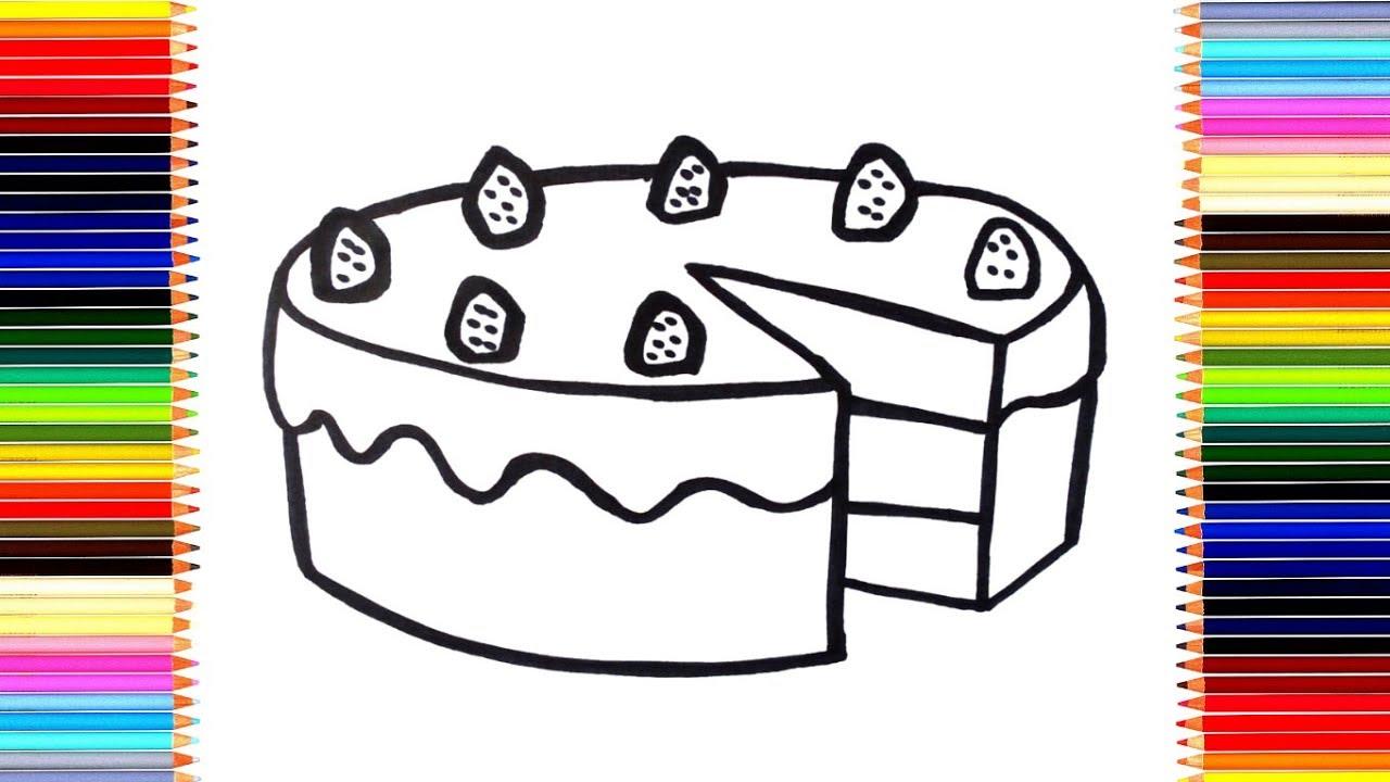 Как нарисовать торт/ мультик раскраска торт для детей ...