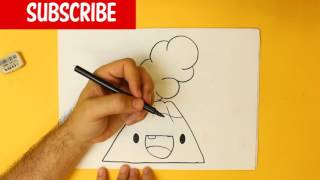 HOW TO DRAW A VOLCANO CUTE, Easy step by step drawing lessons for kids