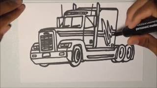 DRAWING TRUCKS!!! Freightliner FLD120 Midroof Truck