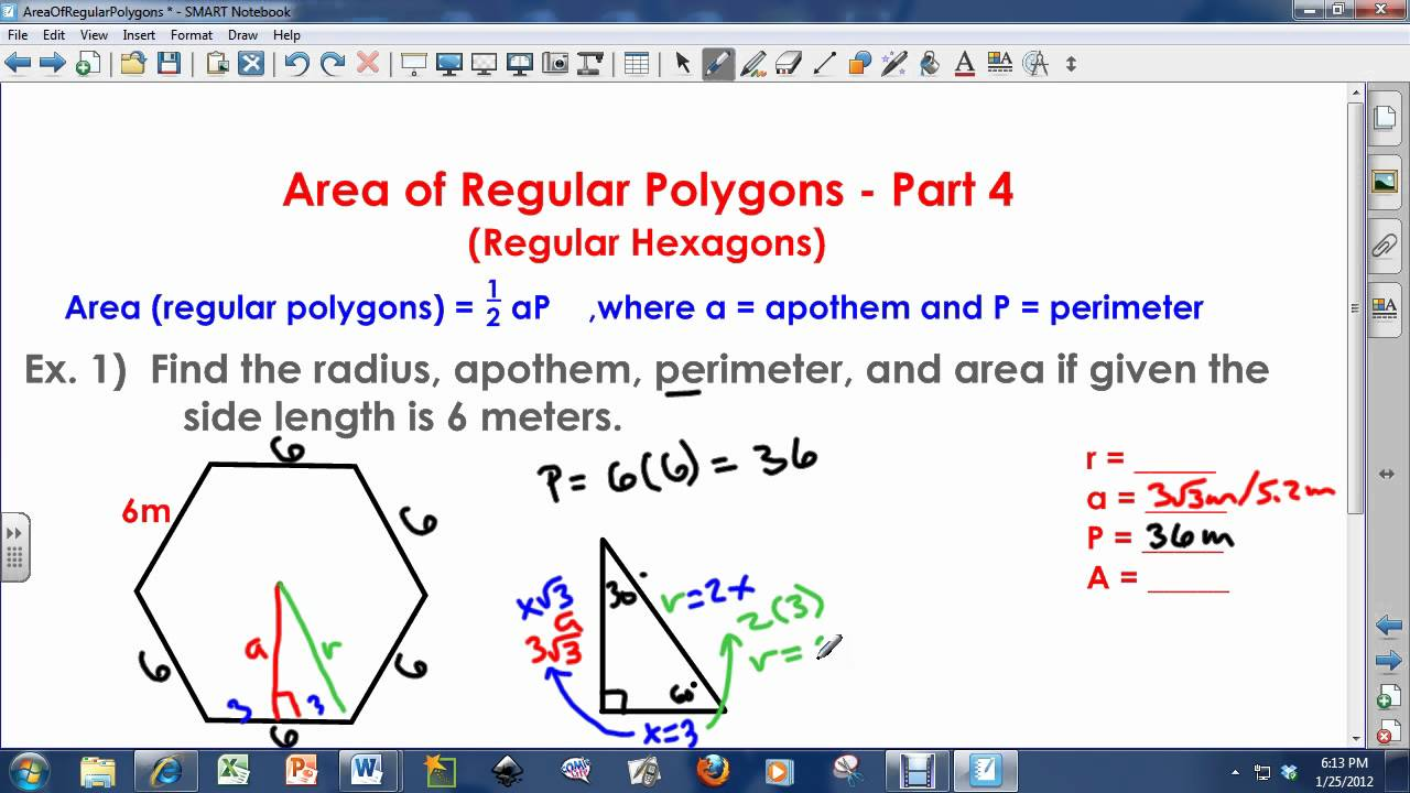 Area Of Regular Polygons Regular Hexagons