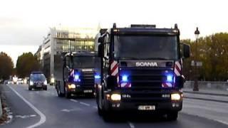 Police Motorcade Escort Banque de France Scania Trucks: COTEP Gendarmes BMW Motorcycles