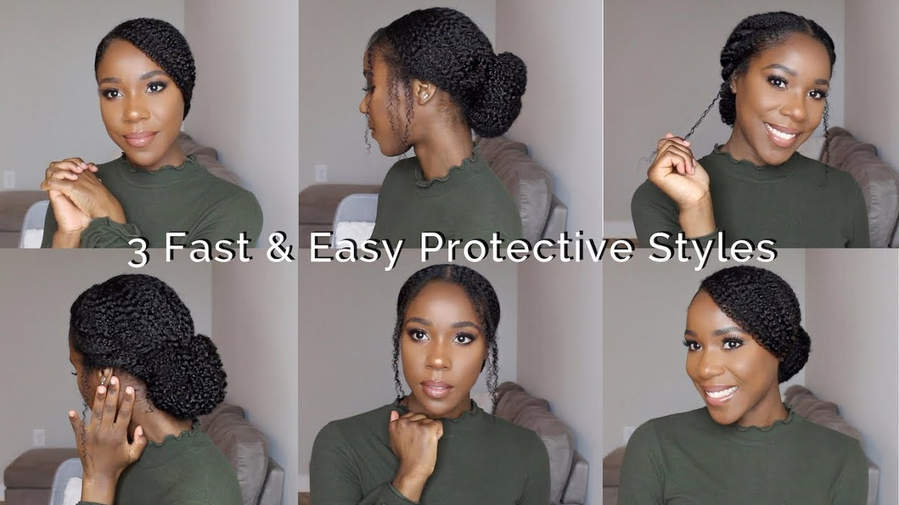 3 Fast Easy Protective Styles Natural Hair Thelifestyleluxe Youtube