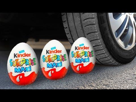 Хрустящие вещи под Авто. Эксперимент Авто Vs Яйца Киндер Сюрприз