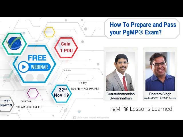 PgMP® Lessons Learned | Gurusubramanian | Free Webinar | 22nd/23rd November 2019 | Dharam Singh