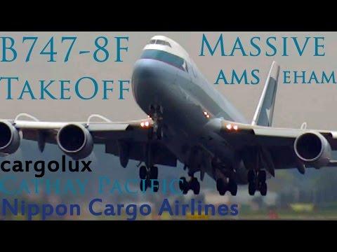 B747-8F Massive takeoff Nippon, Cargolux, Cathay @ Ams