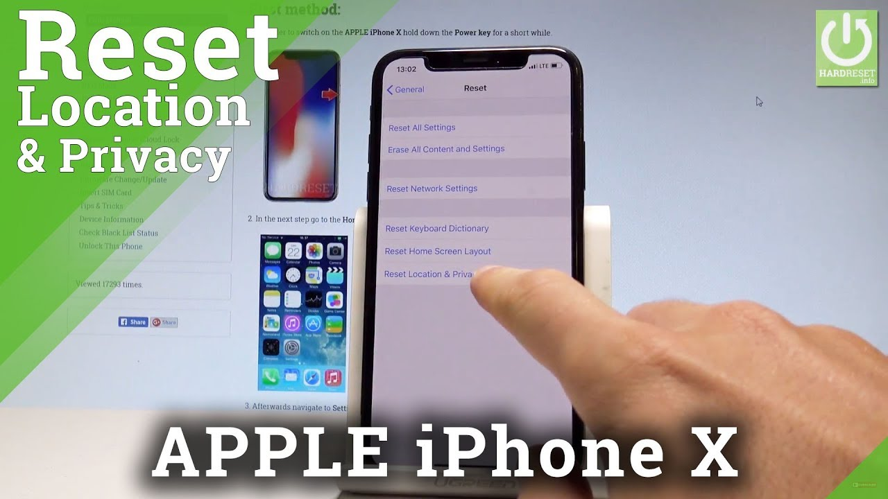 APPLE iPhone X RESET PRIVACY & LOCATION