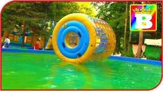 Giant WATER ROLLER in a pool POOL ROLLER   Fun activities for Kids and Toddlers at Bogdan`s Show