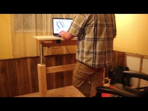 DIY Wooden Sit and Stand Desk/Workbench