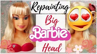 REPAINTING BIG BARBIE DOLL HEAD / How To Draw A Face, Eyes, Lips / EASY TUTORIAL SPEEDPAINT
