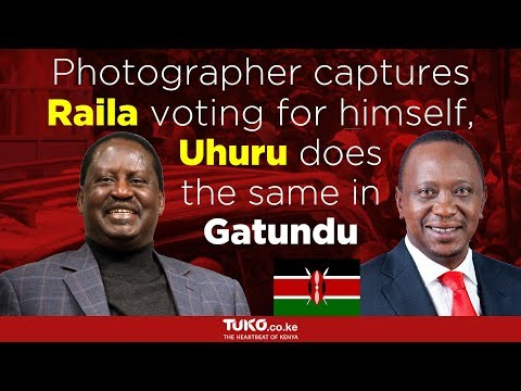 Photographer captures Raila voting for himself, Uhuru does the same in Gatundu