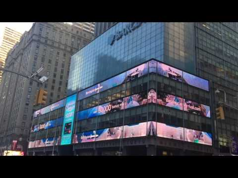 Large inspiring high resolution angled LED screen in Time Square, NYC