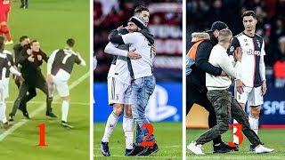 Cristiano Ronaldo 3 incidents with pitch invaders during match vs BAYER 04