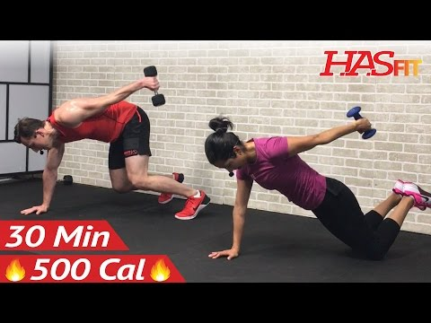 30 Minute HIIT Workout for Fat Loss & Strength – Dumbbell Full Body HIIT Home Workout with Weights