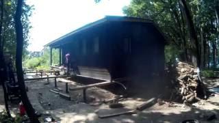Перенос бани. Установка на отремонтированный фундамент.