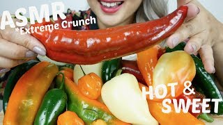 Assorted HOT & SWEET Peppers  | ASMR *Extreme Crunch No Talking Eating sounds | N.E Let's Eat