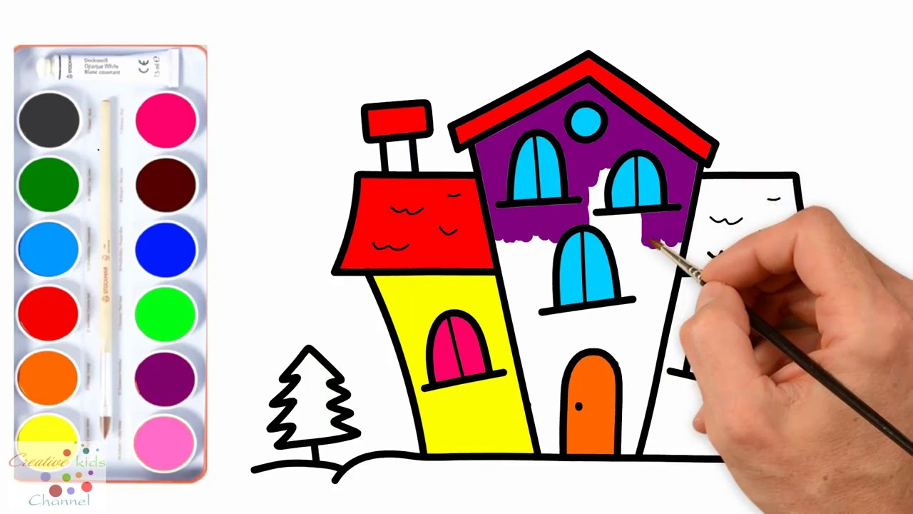 How To Draw Coloring Book House For Kids Ev Boyama Sayfasi Youtube