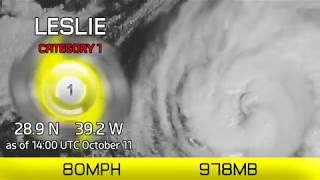 Hurricane Leslie to peak today - 2pm UTC Oct 11, 2018