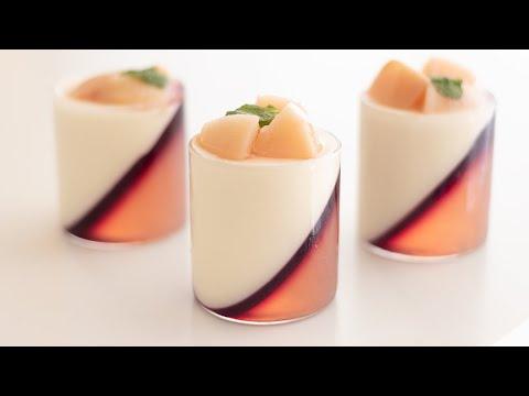 桃のパンナコッタの作り方 Peach Panna Cotta|HidaMari Cooking