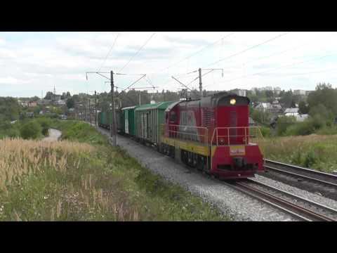 Тепловоз ЧМЭ3-3599 с грузовым поездом